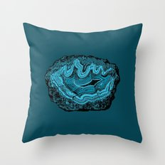 Teal & Turquoise Agate Crystal Gemstone Throw Pillow