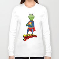 kermit Long Sleeve T-shirts featuring Kermit the Superman by JoshEssel