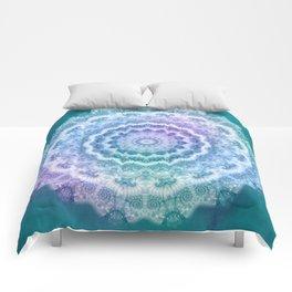 White Mandala on Teal, Purple and Navy Comforters