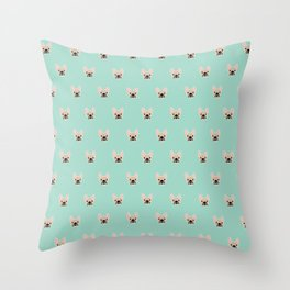 Fawn Frenchie Black Mask French Bulldog Print Pattern on Mint Green Background Throw Pillow