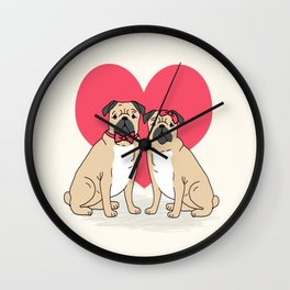 Valentine Pug dog breed small cute hearts pug puppies puppy dogs customizable valentines for dog  Wall Clock