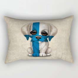 Cute Puppy Dog with flag of Finland Rectangular Pillow