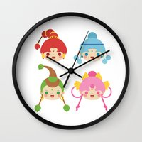 sailormoon Wall Clocks featuring Amazoness Quartet by Azul Piñeiro