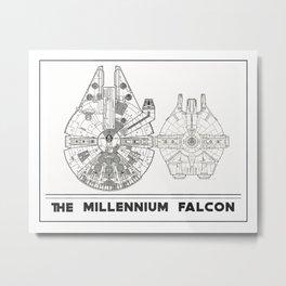 Millennium Falcon Blueprint Metal Print