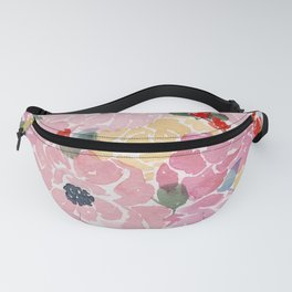 """Bright Florals"" loose flower watercolor painting Fanny Pack"