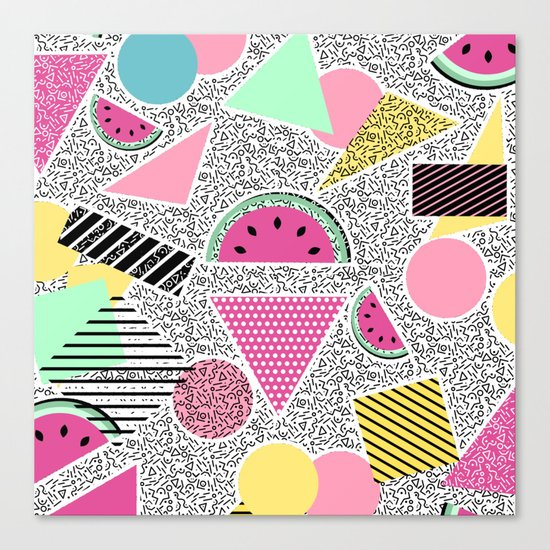 Modern geometric pattern Memphis patterns inspired Canvas Print