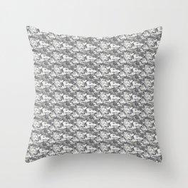 Military Camouflage Pattern - Gray White Throw Pillow