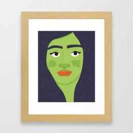 Space Geisha – Green Complexion Framed Art Print
