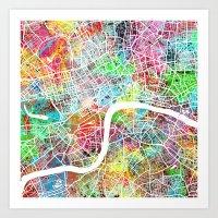 london map Art Prints featuring london map by Nicksman