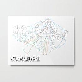 Jay Peak, VT - Minimalist Trail Art Metal Print