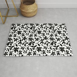 Abstract honeysuckle in black and white Rug