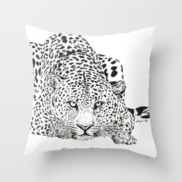Leopard Ink Painting (print) Throw Pillow