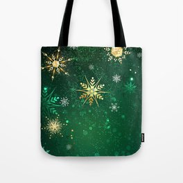 Gold Snowflakes on a Green Background Tote Bag