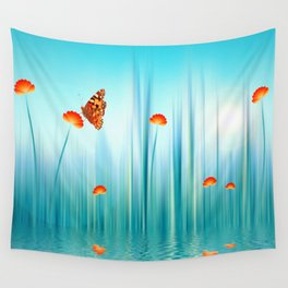 Spring Blue Wall Tapestry