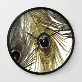 Gold and Silver Peacock Feathers Wall Clock