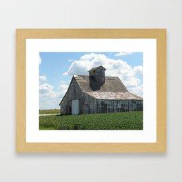 Big White Barn and Summer Clouds Framed Art Print