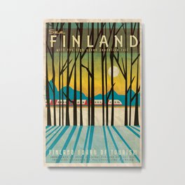 Finland Pendolino Rail Vintage Travel Poster Metal Print