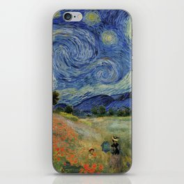 Poppy Fields + Starry Night | Collage 2.0 by Kristi Duggins iPhone Skin