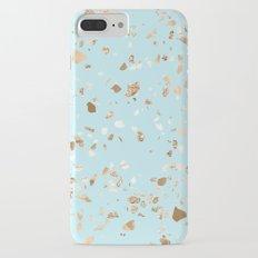 Blue Gold Modern Terrazzo iPhone 7 Plus Slim Case