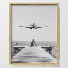 Steady As She Goes; aircraft coming in for an island landing black and white photography- photographs Serving Tray