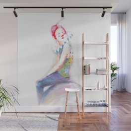 young clown in colorful costume Wall Mural
