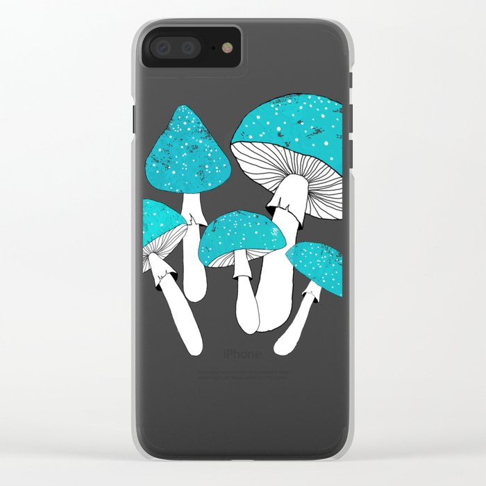 Blue mushrooms field on plum violet Clear iPhone Case