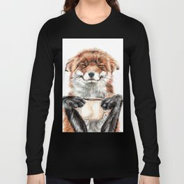 """ Morning fox "" Red fox with her morning coffee Long Sleeve T-shirt"