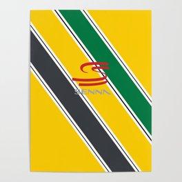 Ayrton Senna Stripes Logo Poster
