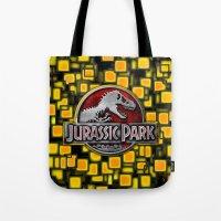 jurassic park Tote Bags featuring JURASSIC PARK by BeautyArtGalery