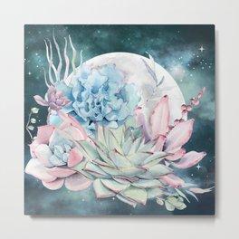 Beautiful Succulents Full Moon Teal Pink Metal Print