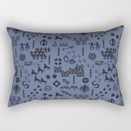 Peoples Story - Black on Blue Rectangular Pillow