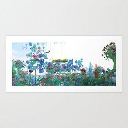 Flying through everblue landscape Art Print
