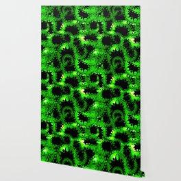 Green luminous lace from circles and balls. Wallpaper