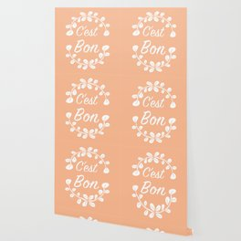 French Typography Print in Peach and White Wallpaper