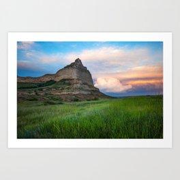Scottsbluff - Landscape in Evening Light in Western Nebraska Art Print