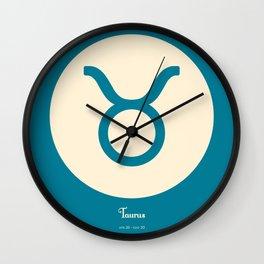 Taurus Symbol Blue Wall Clock
