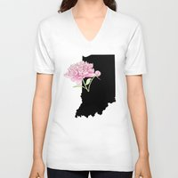 indiana V-neck T-shirts featuring Indiana Silhouette by Ursula Rodgers