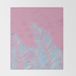 Palm Leaves Blue And Pink Throw Blanket