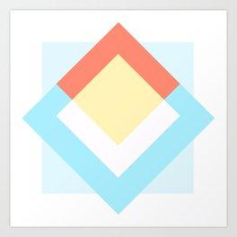 Diamond Cyan Art Print