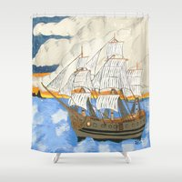 pirate ship Shower Curtains featuring Pirate Ship At Sea by J&C Creations