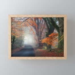 Autumn On Foggy Road Framed Mini Art Print