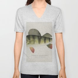 Yellow or Barred Perch (Perca Americana) Fishes of North America illustrated by Sherman F Denton (18 Unisex V-Neck