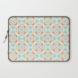 Simple geometric stripe flower orange and light blue Laptop Sleeve