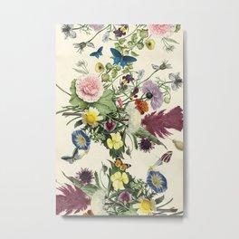 Vintage flowers, butterflies and feathers Metal Print
