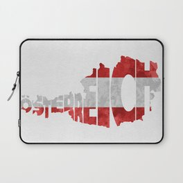 Austria (Österreich) Typographic World Map / Austria Typograpy Flag Map Art Laptop Sleeve