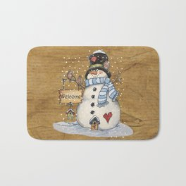 Folk Art Snowman Christmas Bath Mat