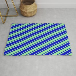 Light Green and Blue Colored Lined Pattern Rug