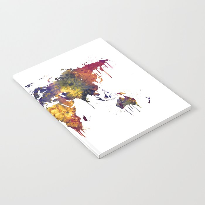 Watercolor Map of the World Map Notebook by artpause