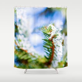 Bitter Cold, Hoarfrost On The Green Fir Tree Shower Curtain