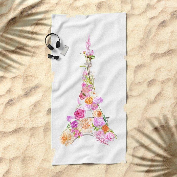 Flowers Eiffel Tower Beach Towel